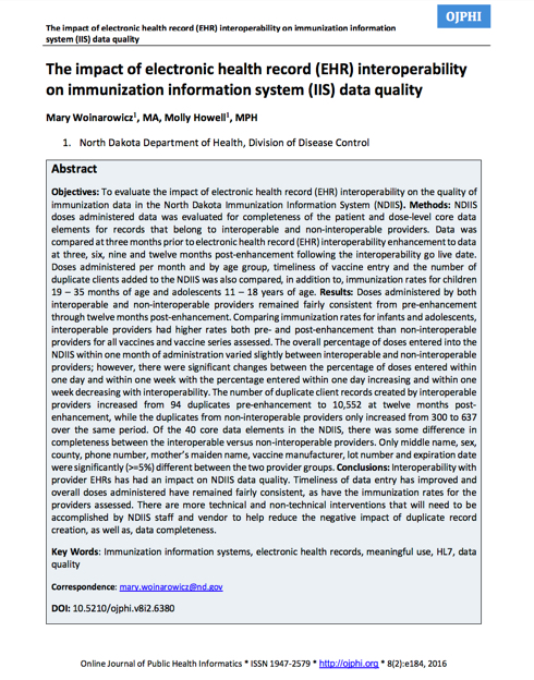 The Impact of Electronic Health Record (EHR) Interoperability on IIS Data Quality