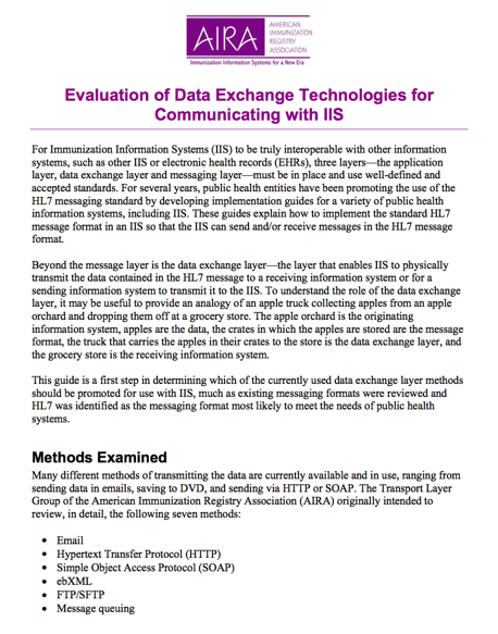 Evaluation of Data Exchange Technologies for Communicating with IIS