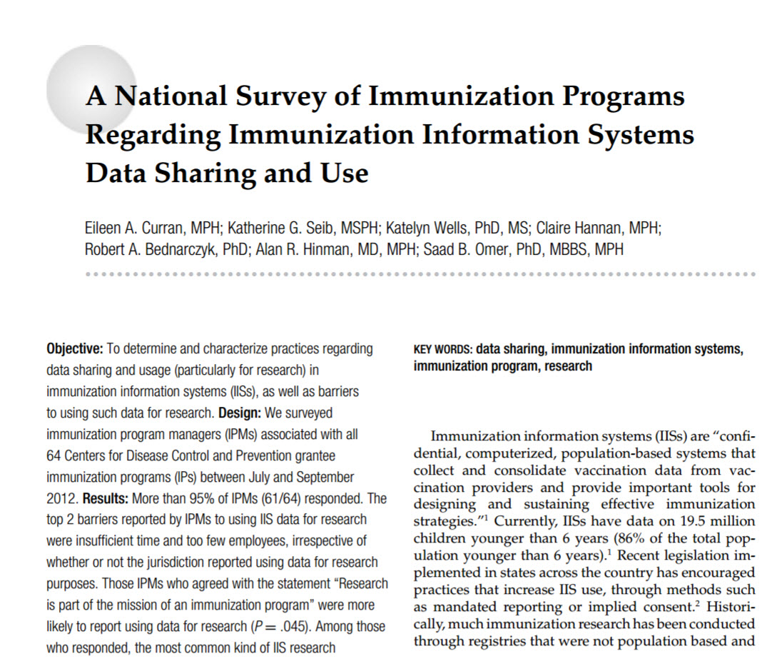 A National Survey of Immunization Programs Regarding Immunization Information Systems Data Sharing and Use