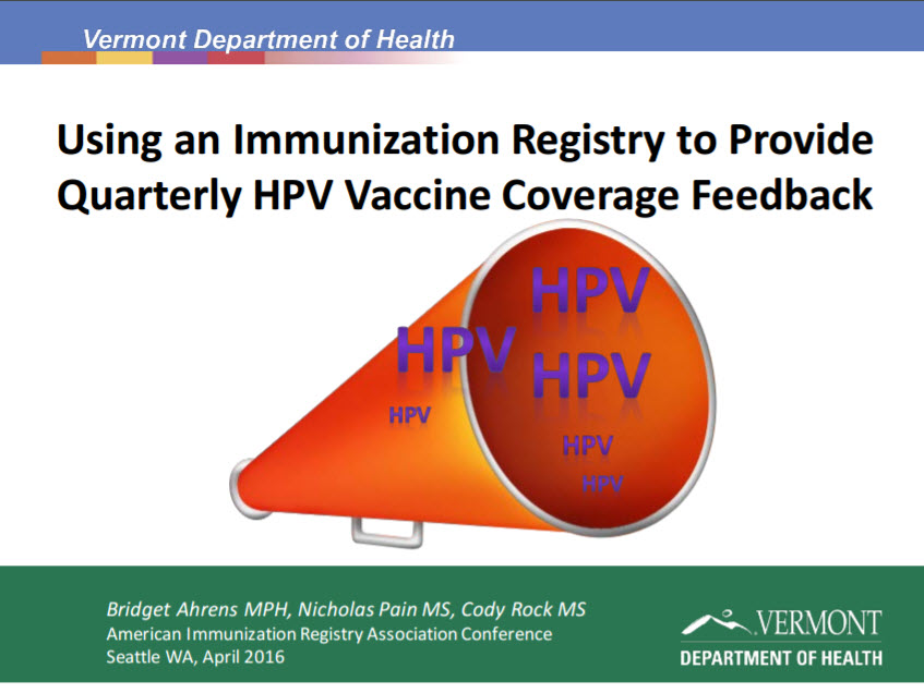 Using an IIS to Provide Quarterly Human Papilloma Virus (Hpv) Coverage Detail to Medical Providers
