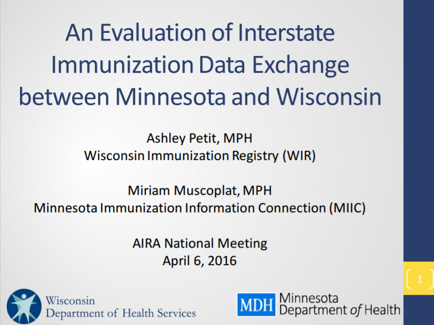 Evaluation of Interstate Immunization Data Exchange between Minnesota and Wisconsin