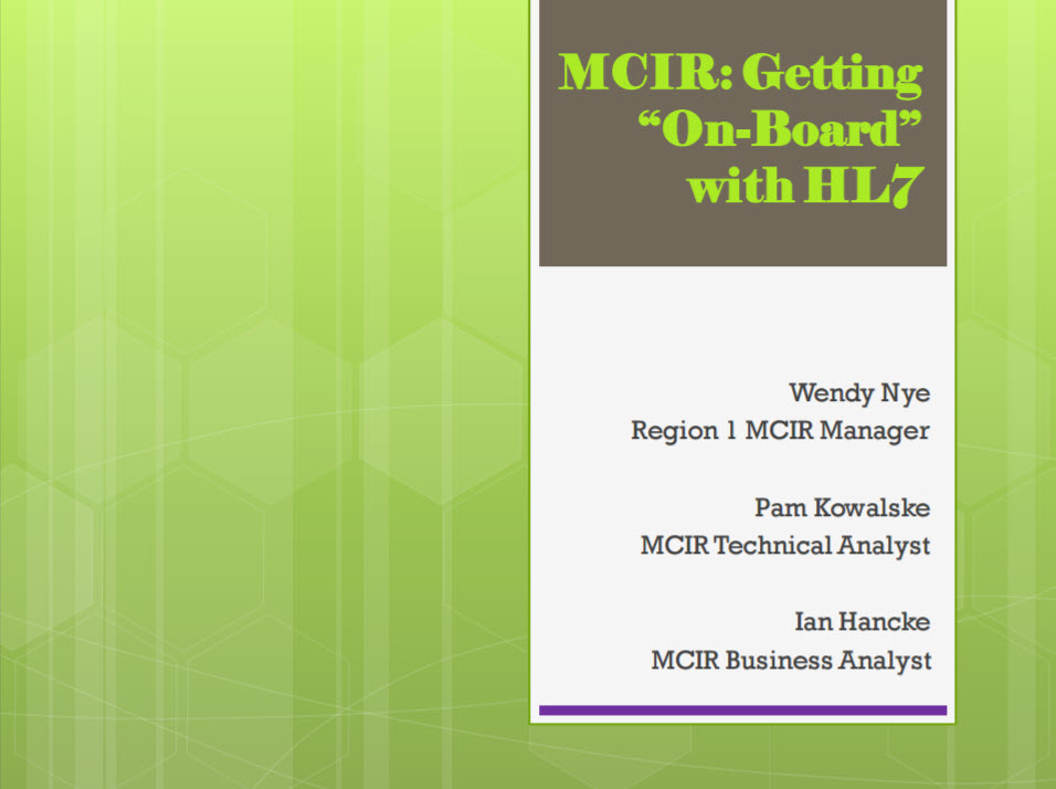 IIS Regions and the State: Partnering to Implement HL7 Onboarding in Michigan