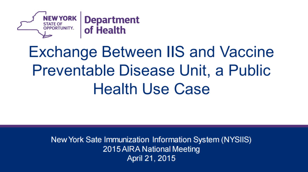 Exchange between IIS and Vaccine Preventable Disease Unit, a Public Health Use Case