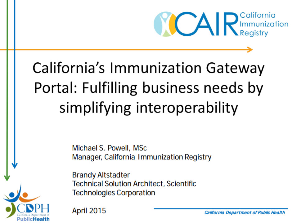 California's Immunization Gateway Portal: Fulfilling Business Needs by Simplifying Interoperability