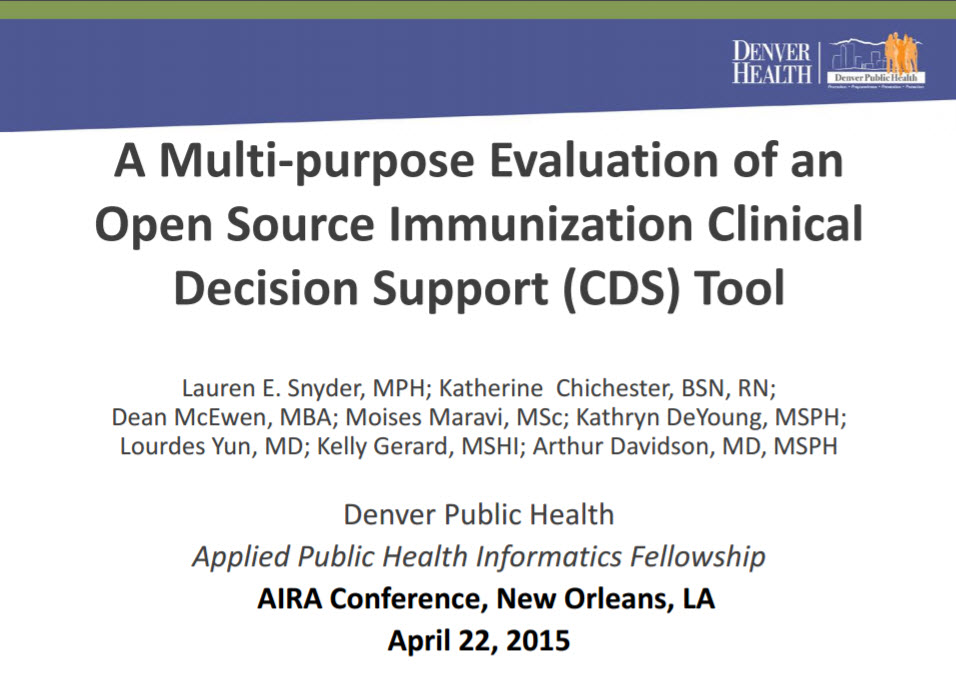A Multi-purpose Evaluation of Open Source Immunization Clinical Decision Support Tool