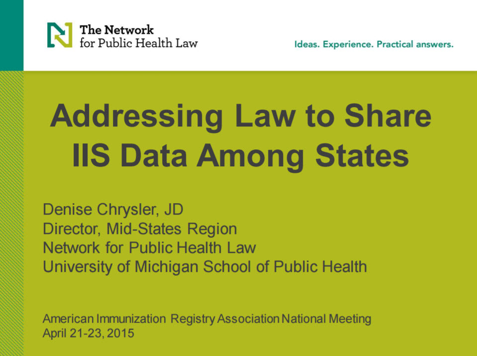 Addressing Law to Share IIS Data Among States