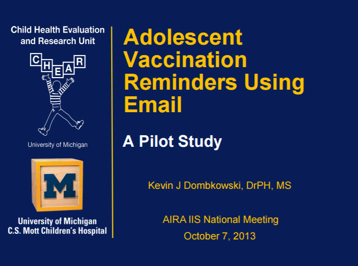 Adolescent Vaccination Reminders Using Email: A Pilot Study