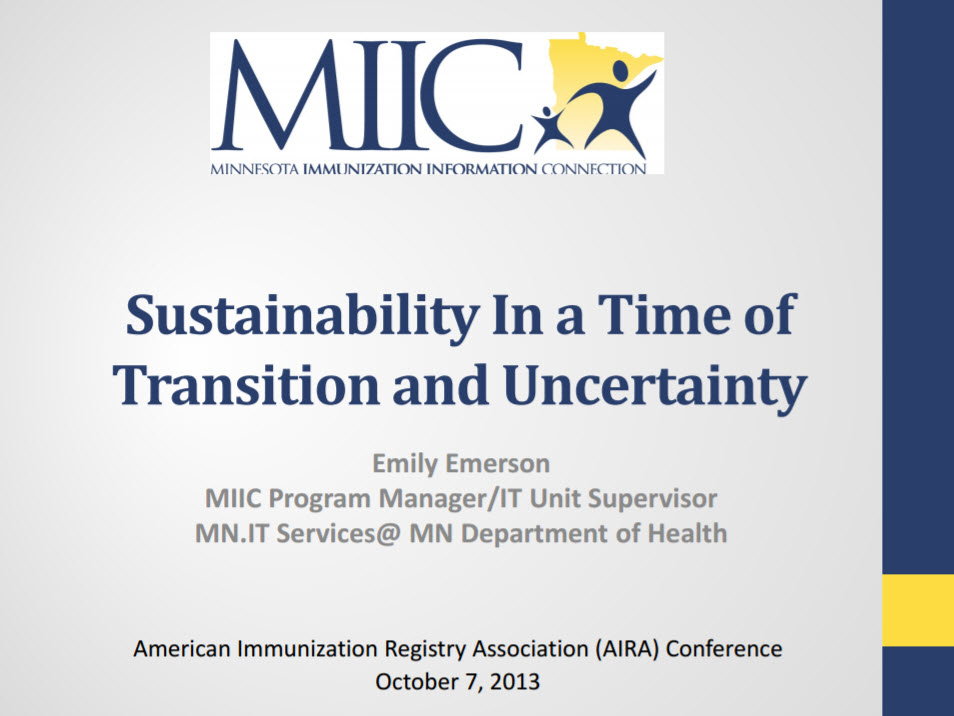 Sustainability in a Time of Transition and Uncertainty