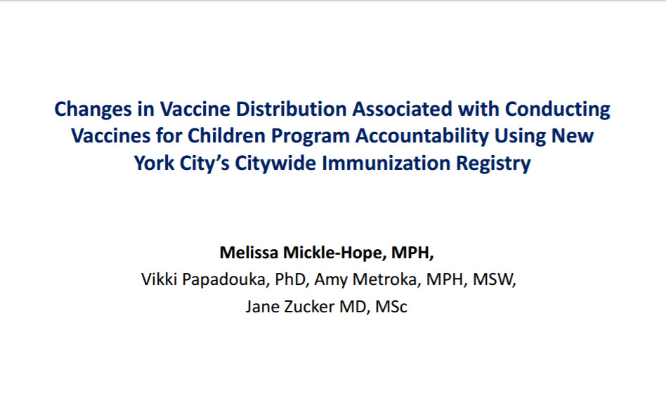 Changes in Vaccine Distribution Associated with Conducting Vaccines for Children Program Accountability Using New York City's Citywide Immunization Registry