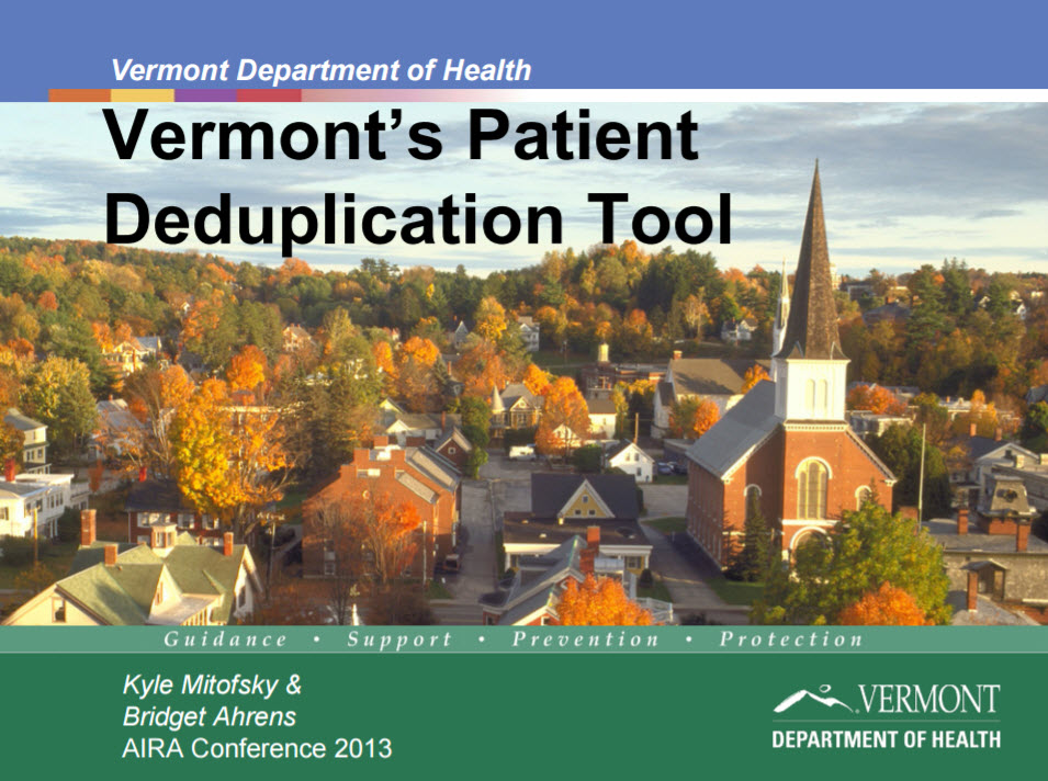 Vermont's Patient Deduplication Tool