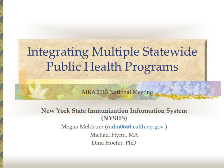 Integrating Multiple Statewide Public Health Programs