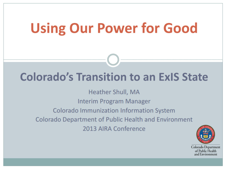 Using Our Power for Good: Colorado's Transition to an ExIS State