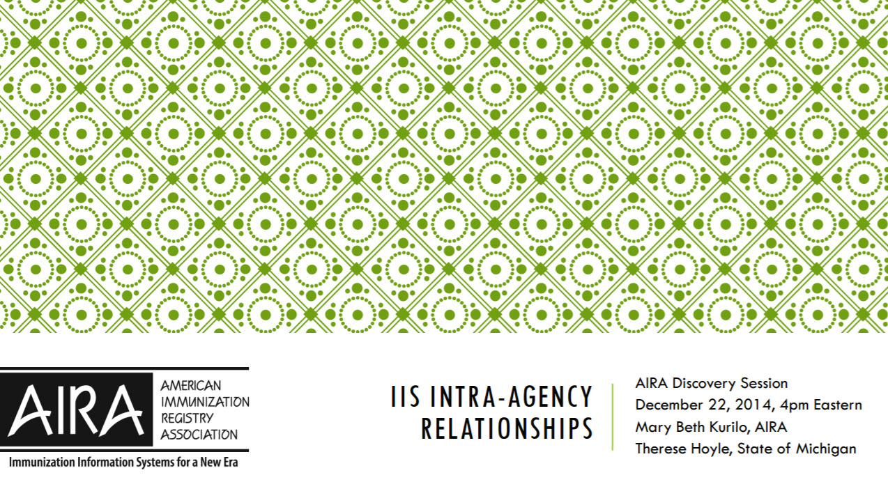 AIRA Discovery Session: IIS Intra-Agency Relationships