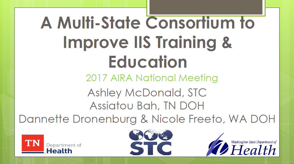 A Multi-State Consortium to Improve IIS Training & Education