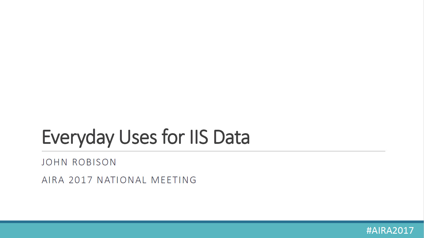 Everyday Uses for IIS Data