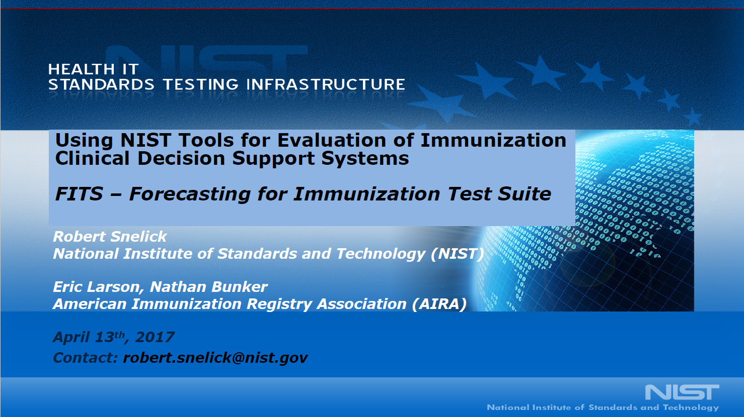 Using NIST Tools for Evaluation of Immunization CDS Systems