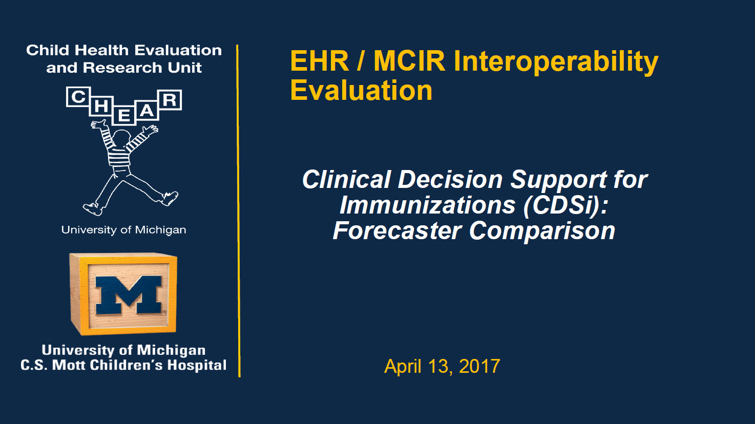 Clinical Decision Support for Immunizations (CDSi) Comparison: Pilot Study