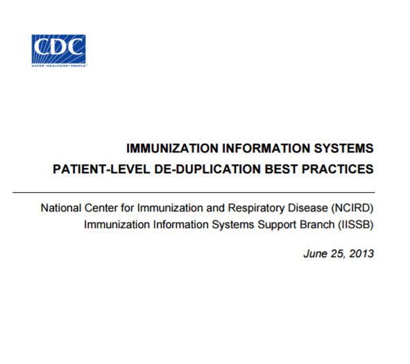 Immunization Information Systems Patient-Level Deduplication Best Practices