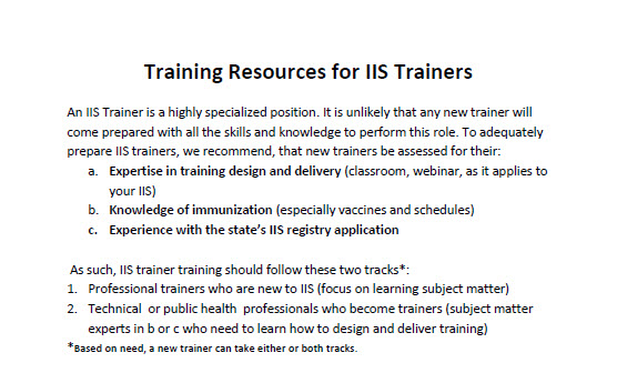 Training Resources for IIS Trainers