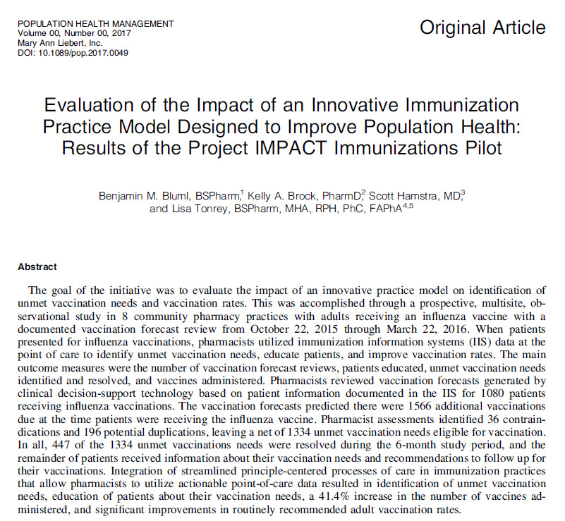 Evaluation of the Impact of an Innovative Immunization Practice Model Designed to Improve Population Health: Results of the Project IMPACT Immunizations Pilot