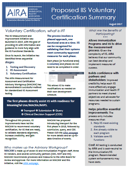 Proposed IIS Voluntary Certification Summary