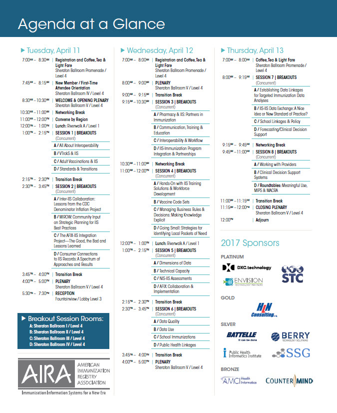 AIRA 2017 National Meeting Agenda-At-A-Glance