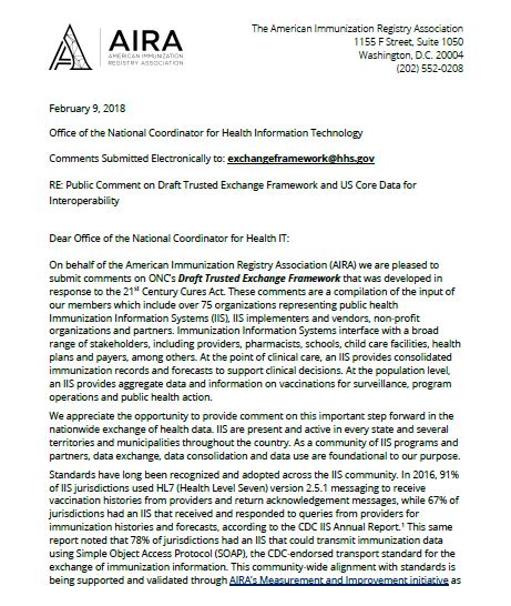 AIRA Letter and Comments on ONC's Draft Trusted Exchange Framework