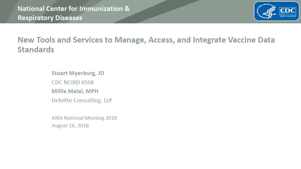 New Tools and Services to Manage, Access, and Integrate Vaccine Data Standards