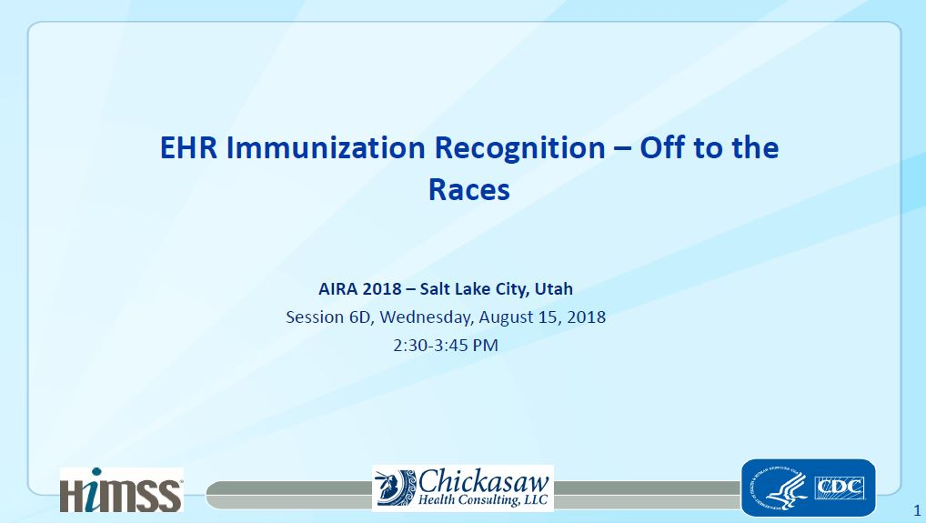 EHR Immunization Recognition – Off to the Races