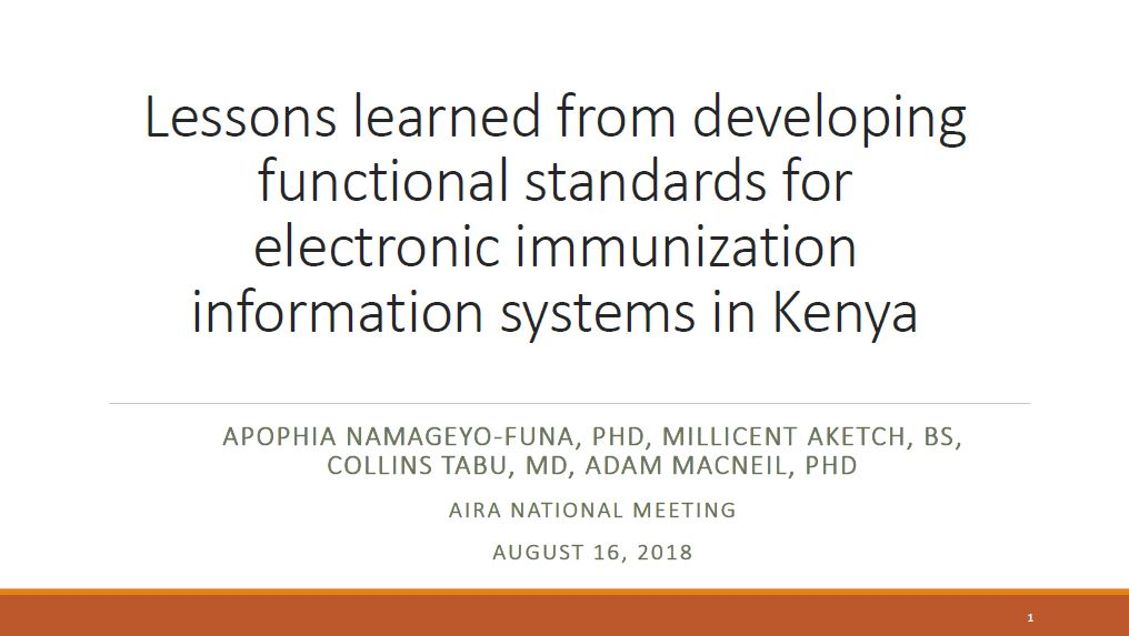 Lessons Learned from Developing Functional Standards for Electronic Immunization Information Systems in Kenya