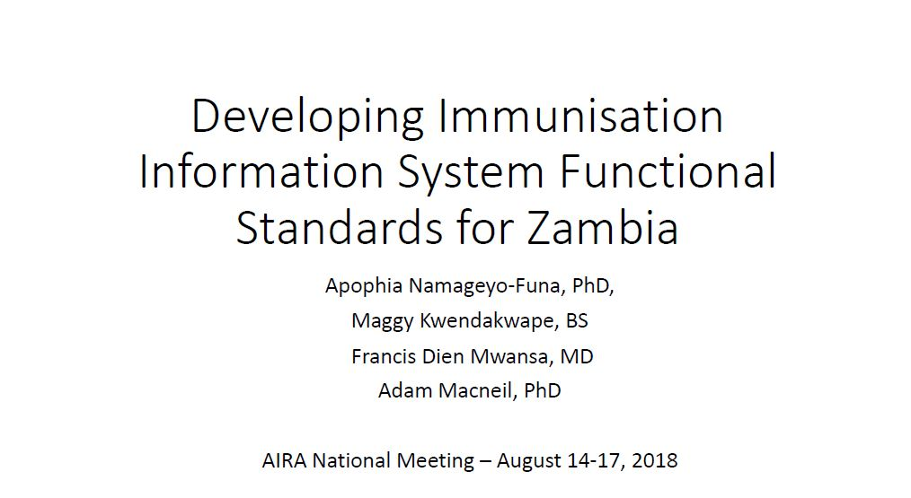 Developing Immunisation Information System Functional Standards for Zambia