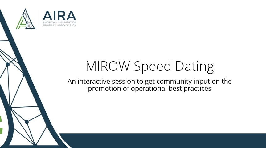 MIROW Speed Dating: Interactive Session to Get Community Input on the Promotion of Operational Best Practices