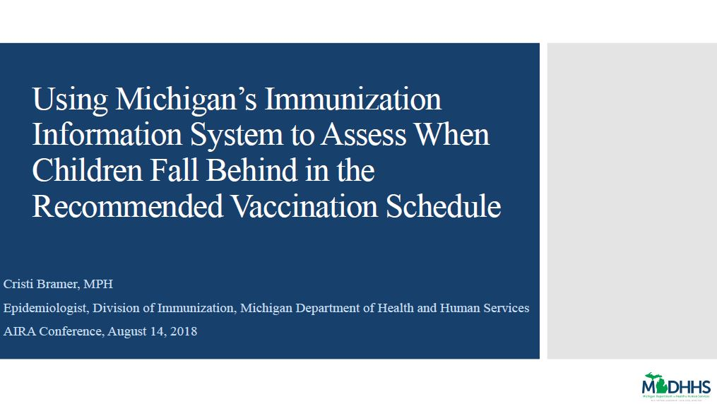 Using Michigan's Immunization Information System to Assess When Children Fall Behind in the Recommended Vaccination Schedule