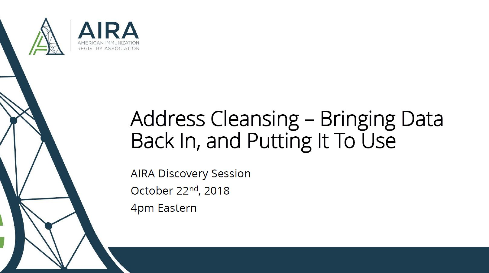 AIRA Discovery Session: Address Cleansing