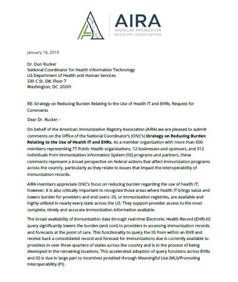 AIRA Letter and Comments on Strategy on Reducing Burden Relating to the Use of Health IT and EHRs