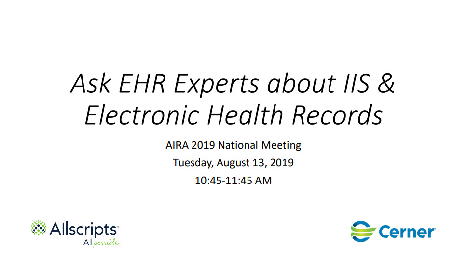 Ask EHR Experts About IIS & Electronic Health Records