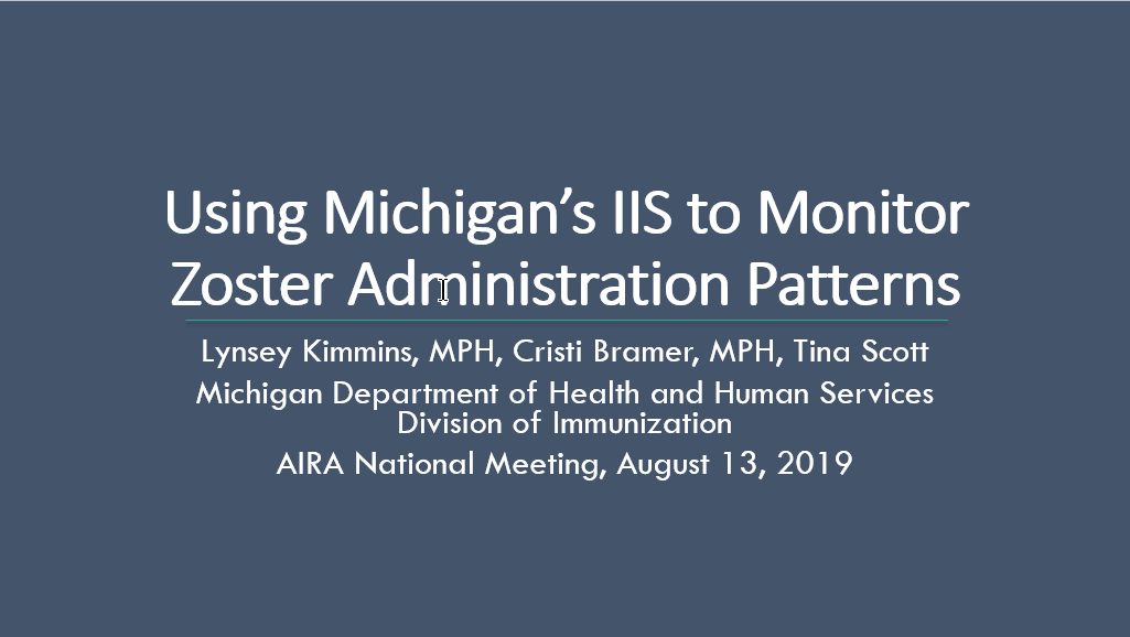 Using Michigan's IIS to Monitor Zoster Administration Patterns
