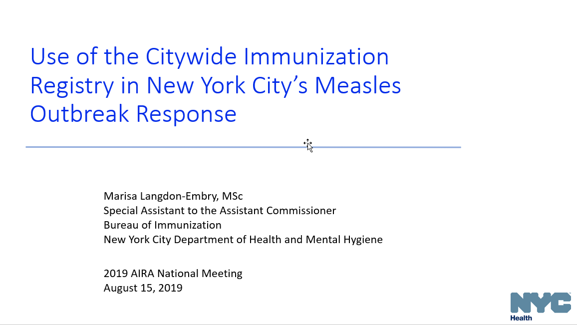 Use of New York City's IIS in a Measles Outbreak Response, 2018-2019