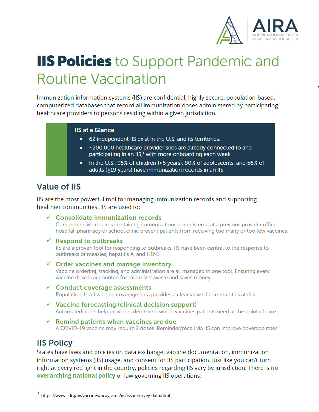 IIS Policies to Support Pandemic and Routine Vaccination One-Sheet