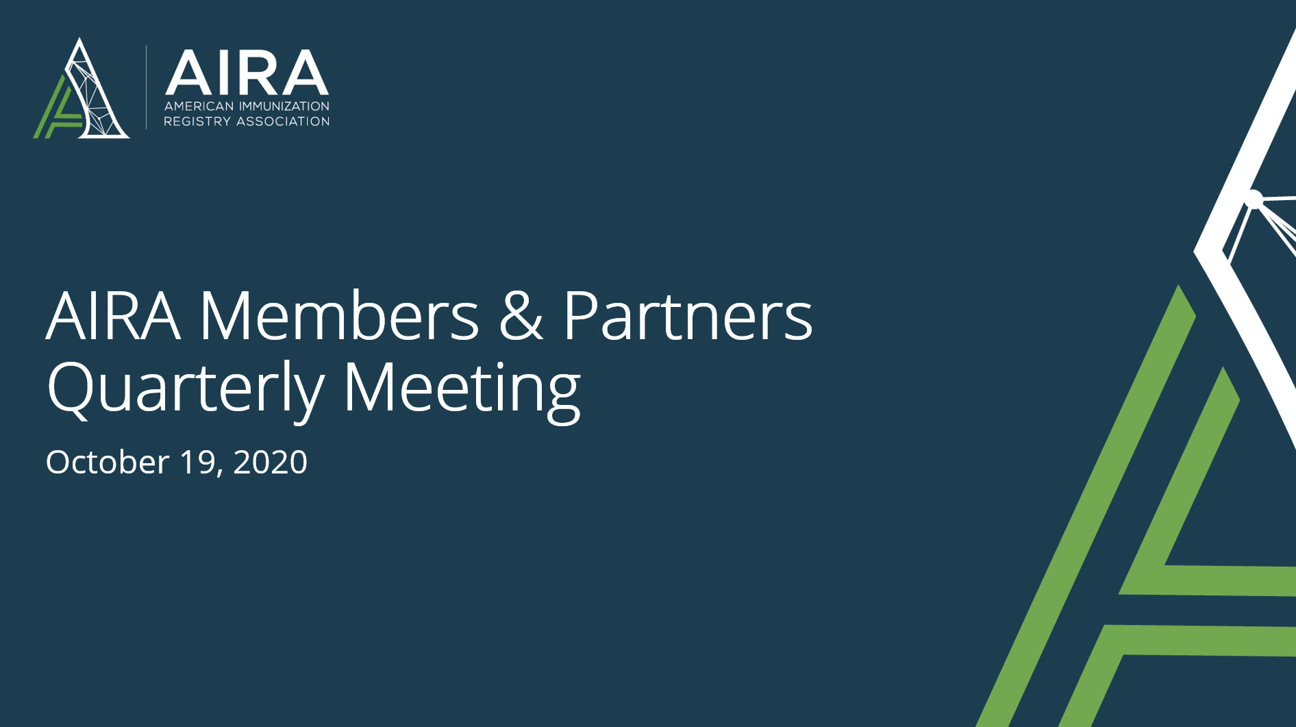 AIRA Members and Partners Meeting: October 2020